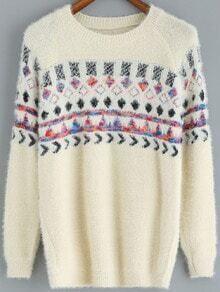 Apricot Round Neck Geometric Print Sweater