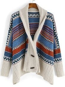 Apricot Shawl Collar Tribal Print Sweater Coat