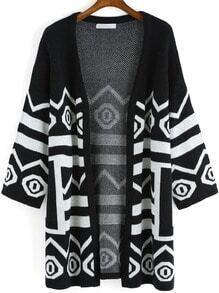 Black White Long Sleeve Geometric Print Cardigan