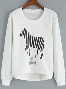 White Round Neck Zebra Print Dip Hem Sweatshirt