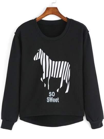 Black Round Neck Zebra Print Dip Hem Sweatshirt