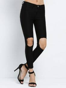 Black Slim Ripped Pant