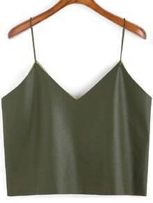 Army Green Spaghetti Strap PU Cami Top
