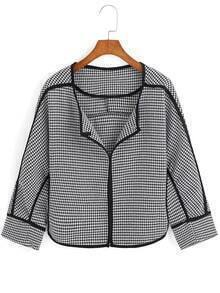 Black White Houndstooth Crop Coat