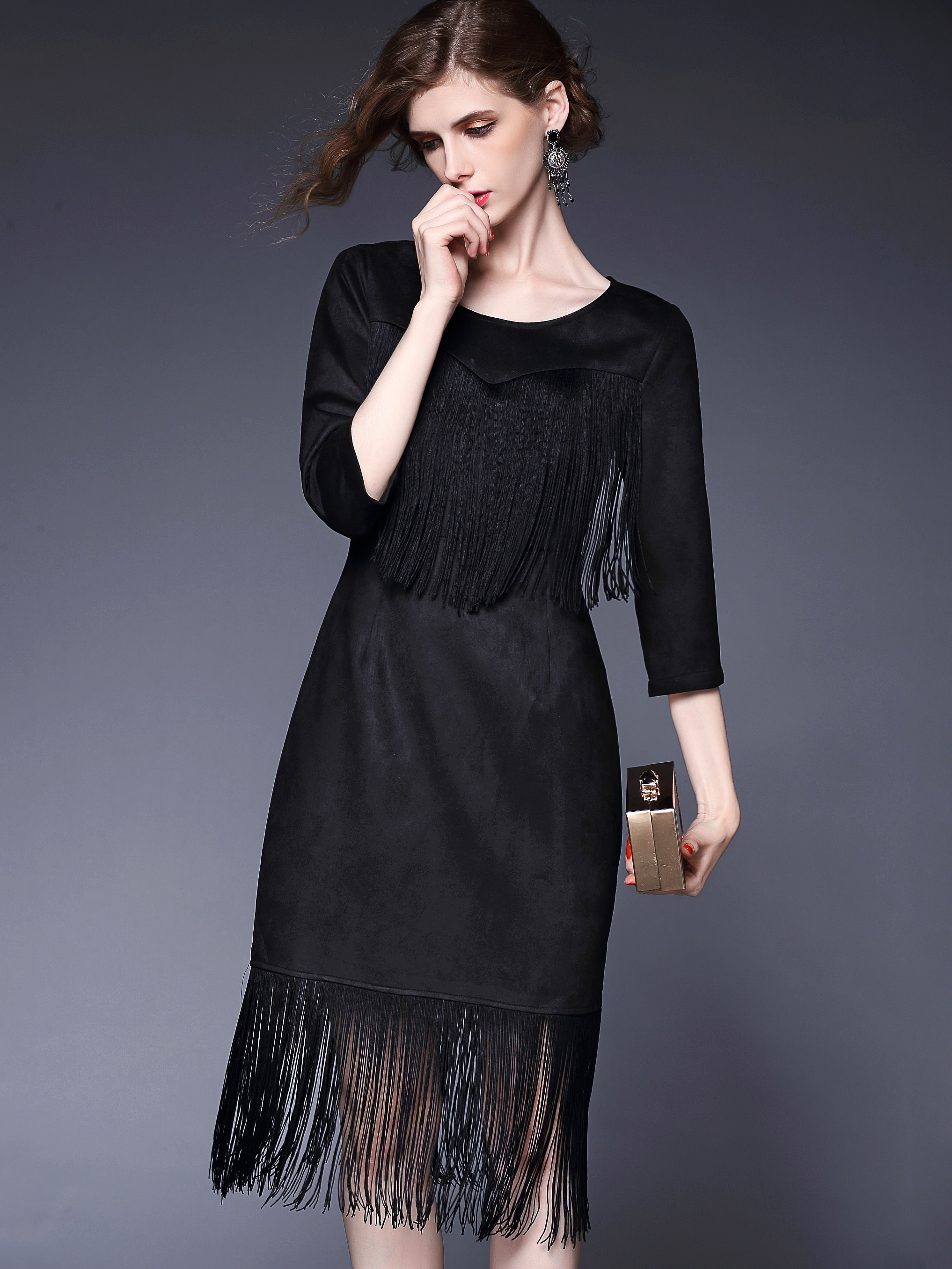 Black Round Neck Length Sleeve Tassel Dress