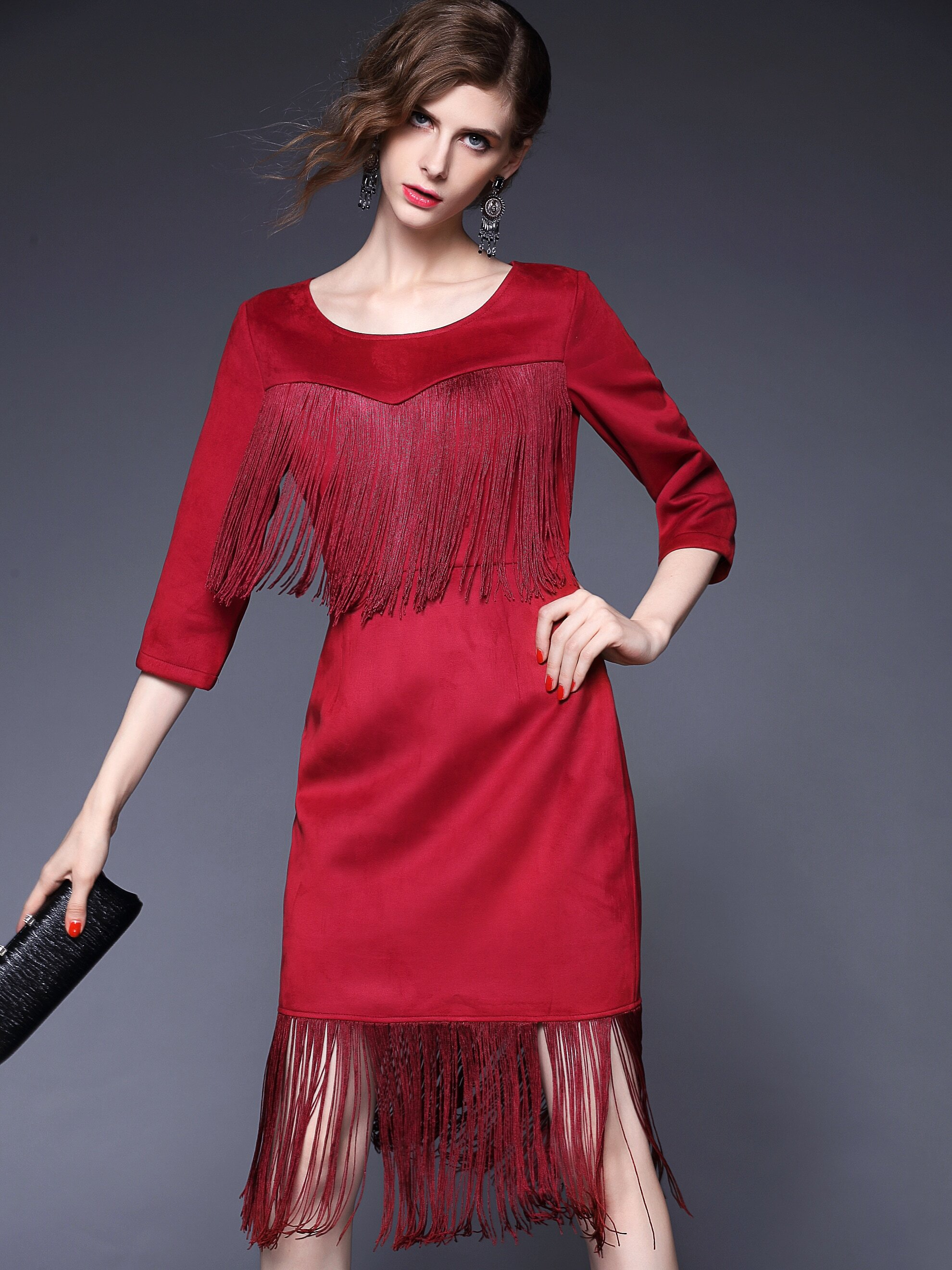 Win Red Round Neck Length Sleeve Tassel Dress