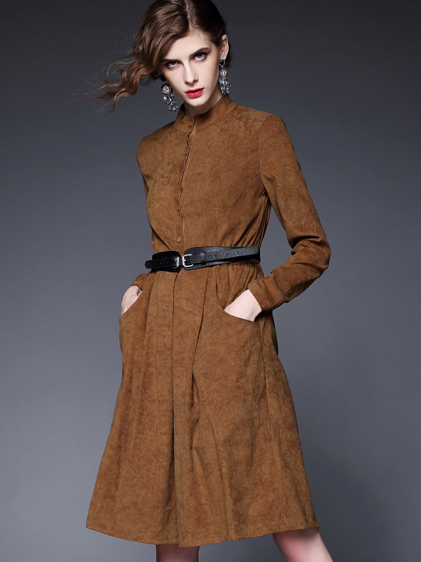 Khaki Round Neck Long Sleeve Drawstring Pockets Dress