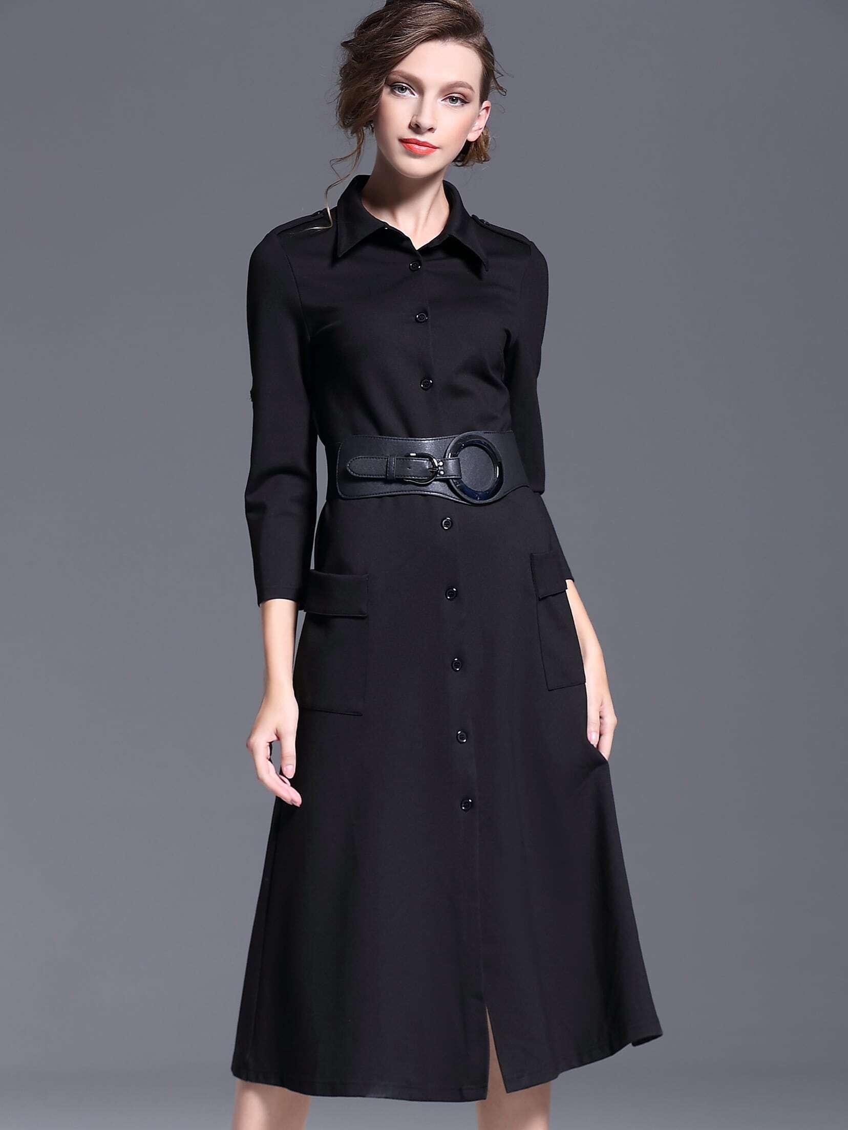 Black Lapel Length Sleeve Drawstring Pockets Dress