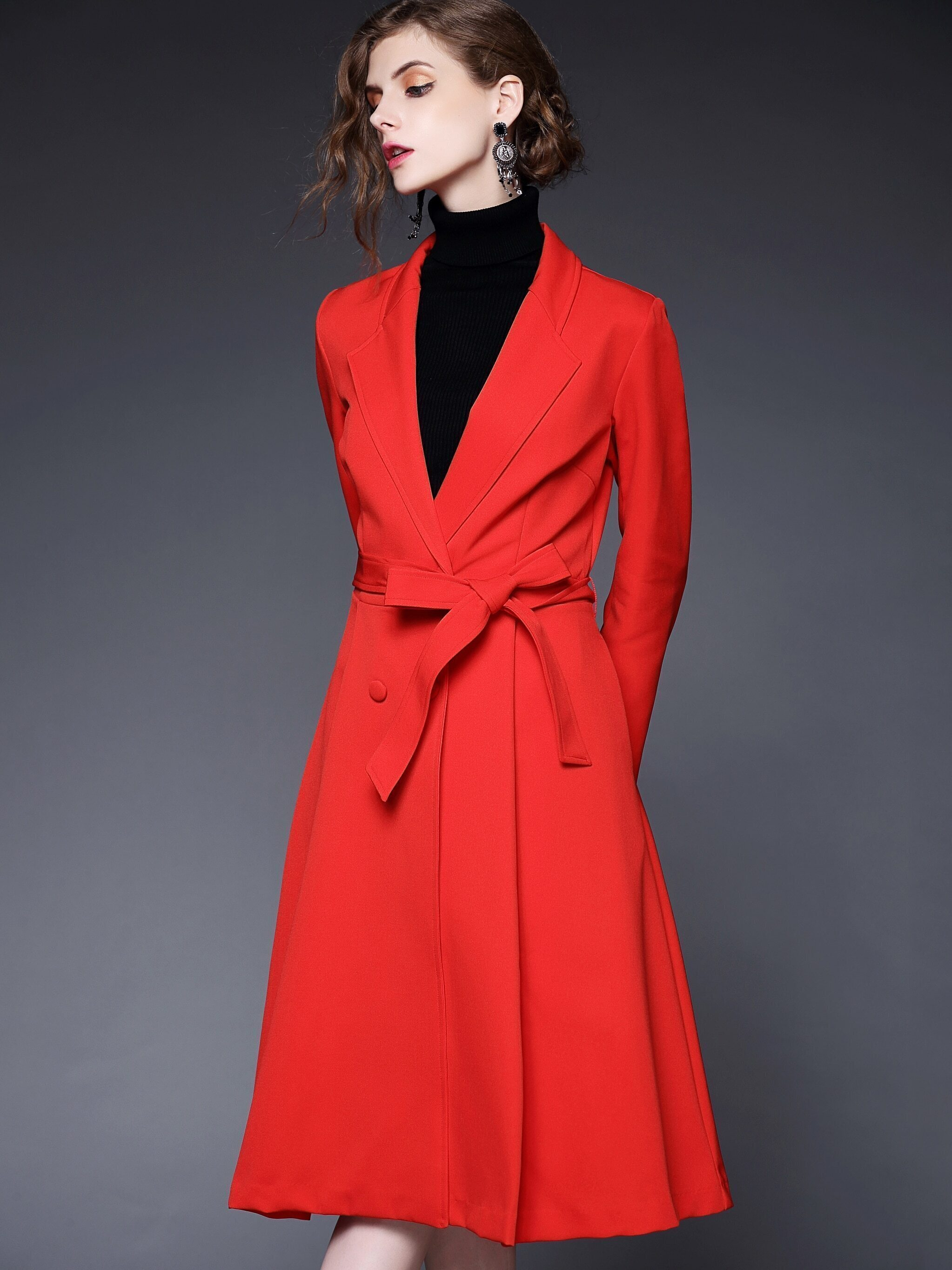 Red Long Sleeve Tie-Waist Pockets Coat