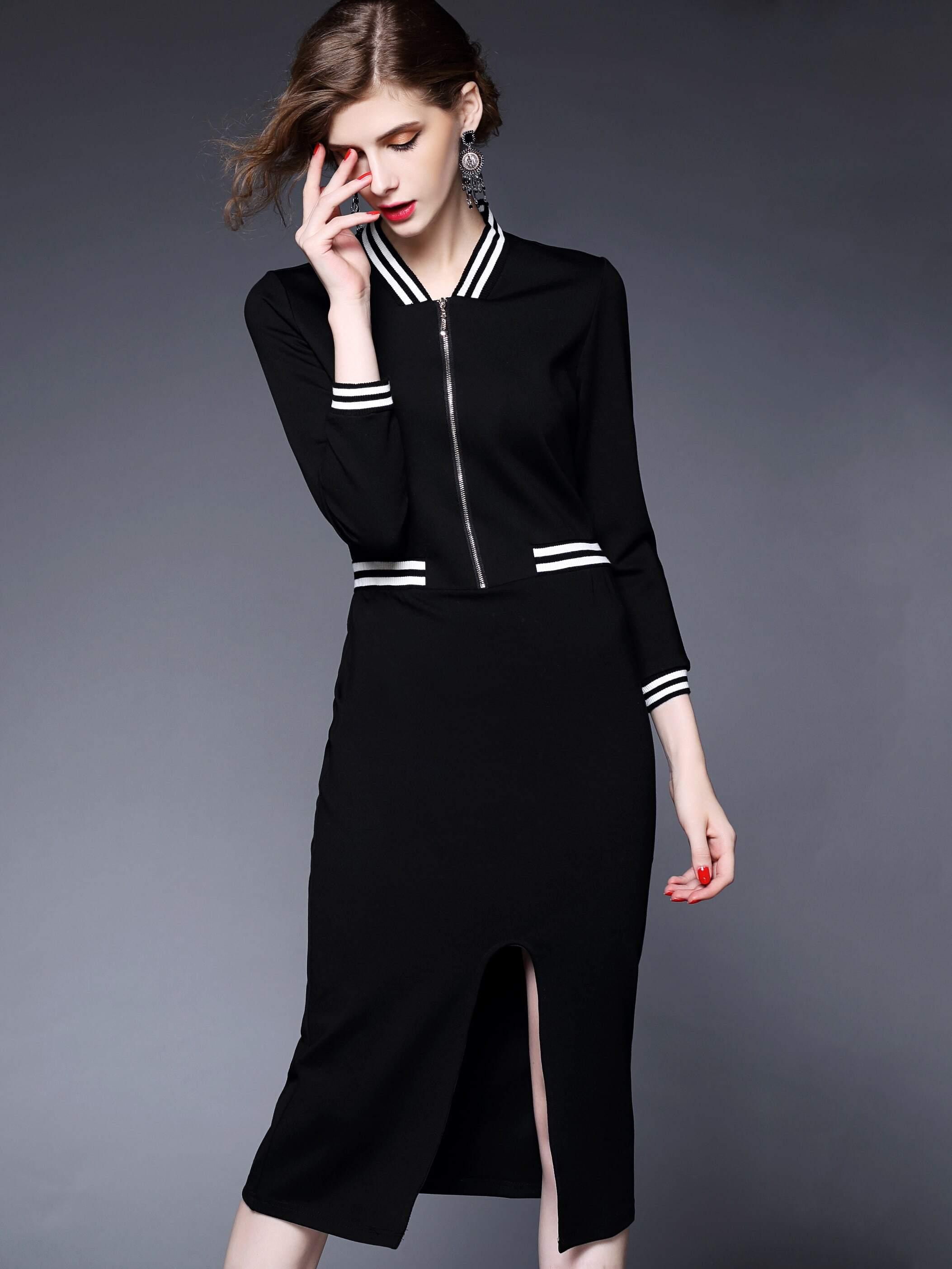 Black Round Neck Length Sleeve Bodycon Dress