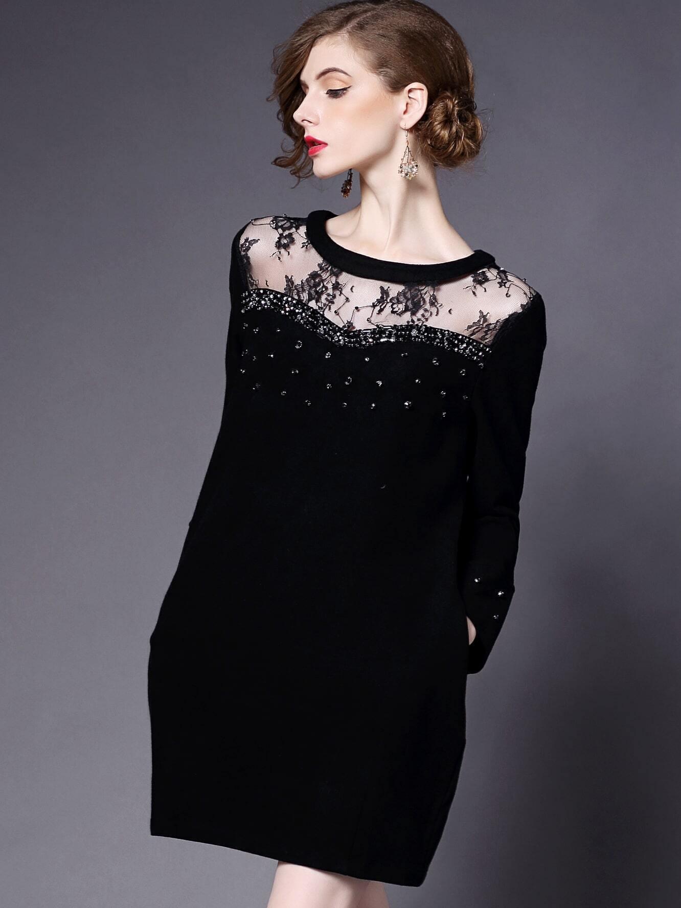 Black Round Neck Long Sleeve Beading Contrast Gauze Dress