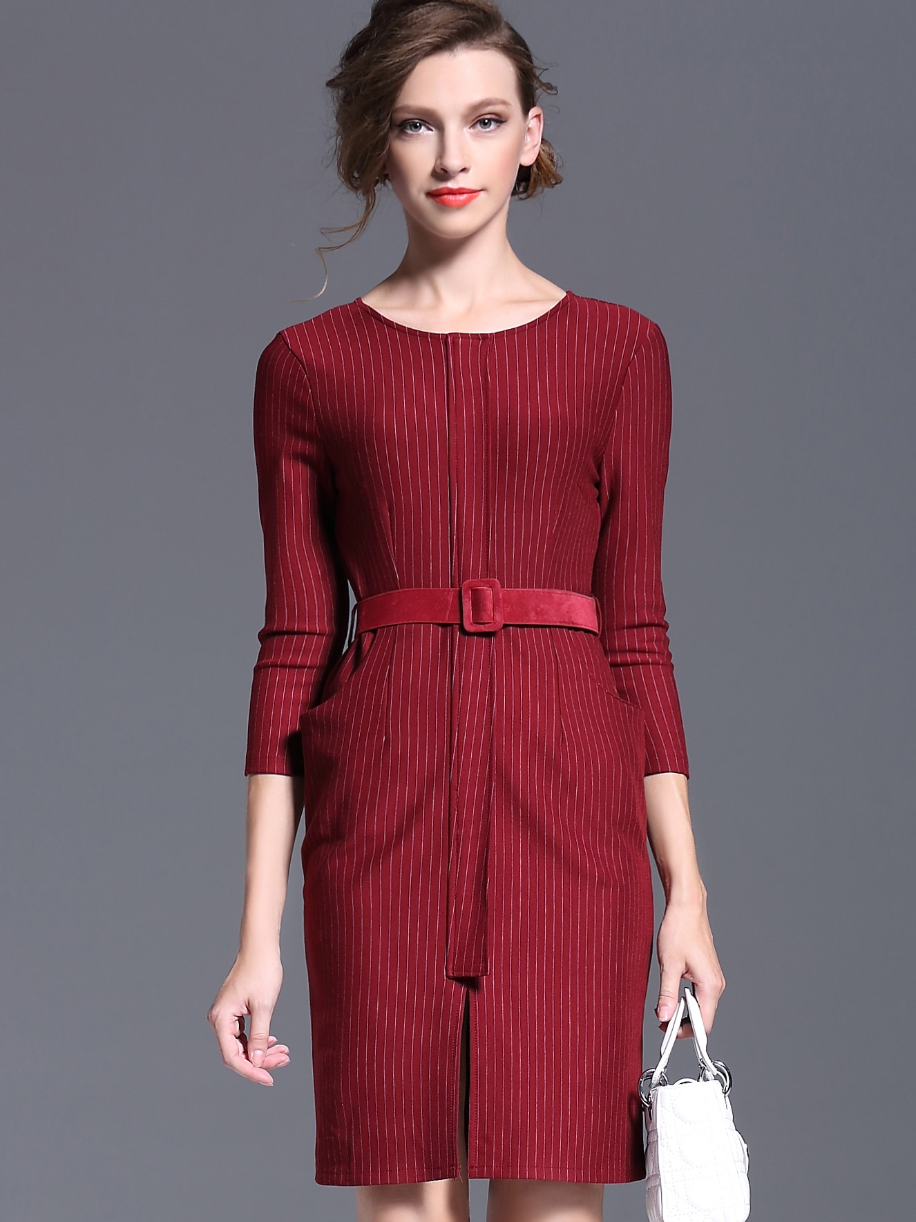 Red Round Neck Length Sleeve Drawstring Pockets Dress