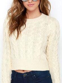 Beige Long Sleeve Round Neck Sweater