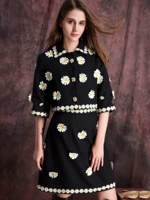 Black Round Neck Length Sleeve Beading Embroidered Two Pieces Dress
