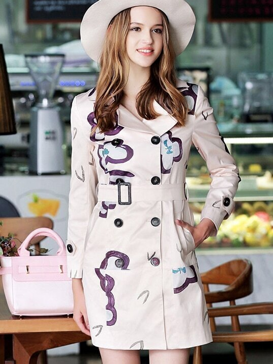 Apricot Lapel Long Sleeve Print Drawstring Pockets Coat