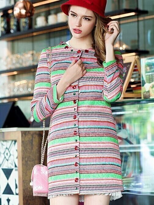 Multicolor Round Neck Long Sleeve Print Coat