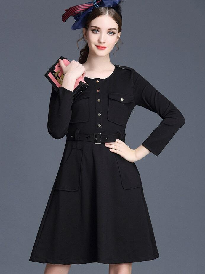 Black Round Neck Long Sleeve Drawstring Pockets Dress