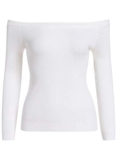 White Boat Neck Slim Crop Knitwear