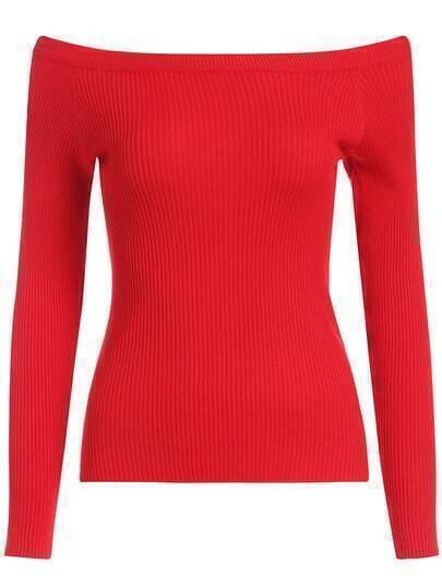 Red Boat Neck Slim Crop Knitwear