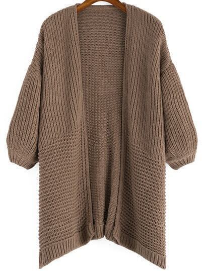 Brown Casual Chunky Knit Loose Cardigan