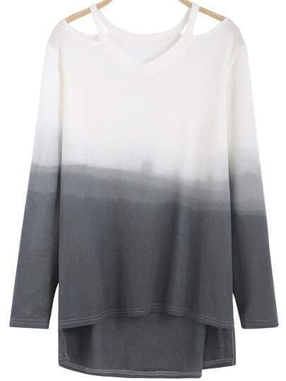 Grey Ombre Cold Shoulder Dip Hem Knitwear