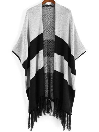 Black Grey Striped Tassel Loose Cardigan