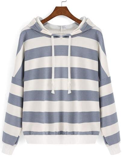 Grey White Hooded Striped Crop Sweatshirt
