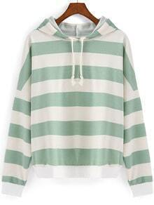 Green White Hooded Striped Crop Sweatshirt