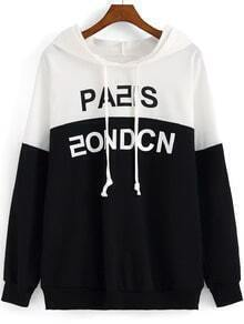 Colour-block Hooded Letters Print Loose Sweatshirt