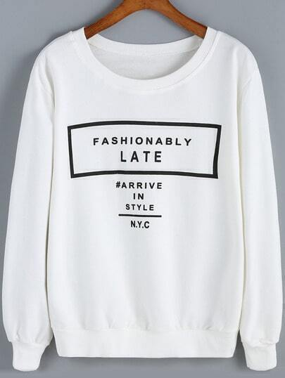 White Round Neck Letters Print Loose Sweatshirt