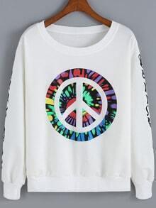 White Round Neck Antiwar Print Loose Sweatshirt