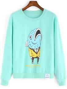 Green Round Neck Cartoon Print Sweatshirt