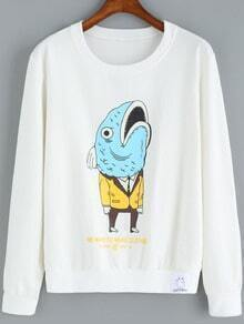 White Round Neck Cartoon Print Sweatshirt