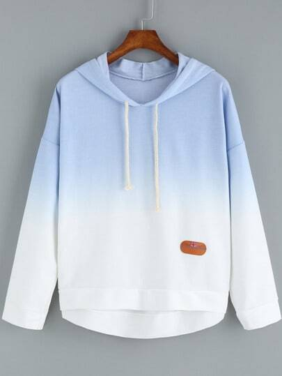 Blue Ombre Hooded Dip Hem Sweatshirt pictures