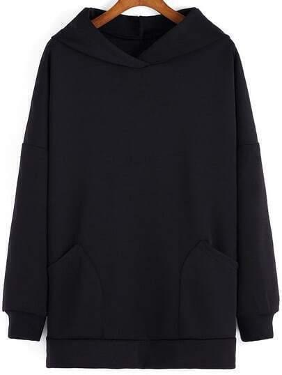 Black Hooded Pockets Loose Sweatshirt