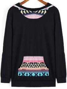 Multicolor Hooded Tribal Print Elbow Patch Sweatshirt