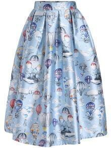 Sky Blue Balloon Print Flare Skirt
