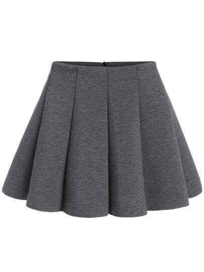 Grey Casual Flare Mini Skirt