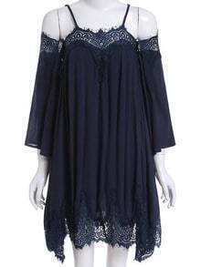 Navy Cold Shoulder Lace Loose Dress