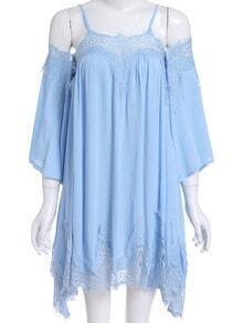 Blue Cold Shoulder Lace Loose Dress
