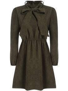 Army Green Bow Collar Casual Dress