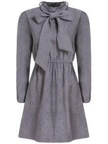 Light Grey Bow Collar Casual Dress
