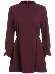 Wine Red Stand Collar Slim Dress
