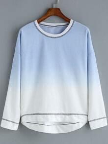 Blue Ombre Round Neck Dip Hem T-Shirt