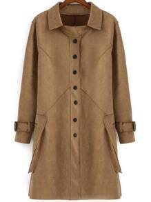 Camel Lapel Single Breasted Pockets Coat