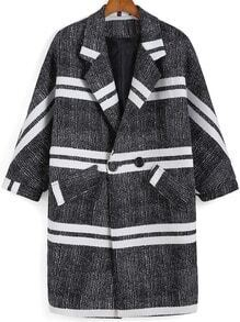 Black White Lapel Double Breasted Striped Coat