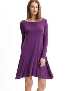 Purple Eggplant Long Sleeve Casual Dress