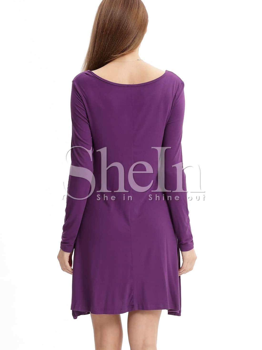 purple eggplant long sleeve casual dress sheinsheinside