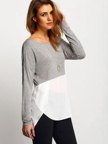 Grey White Quilting Pane Colourblock Round Neck Color Block T-Shirt