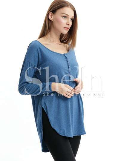 Blue Round Neck With Button T-Shirt